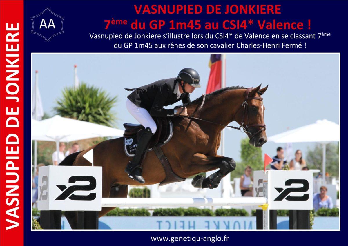 VASNUPIED DE JONKIERE – 7ème du GP 1m45 au CSI4* de Valence !